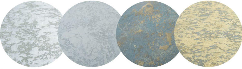 Bretz Esstische Oberflächen golden silbern messing-patiniert betongrau-meliert
