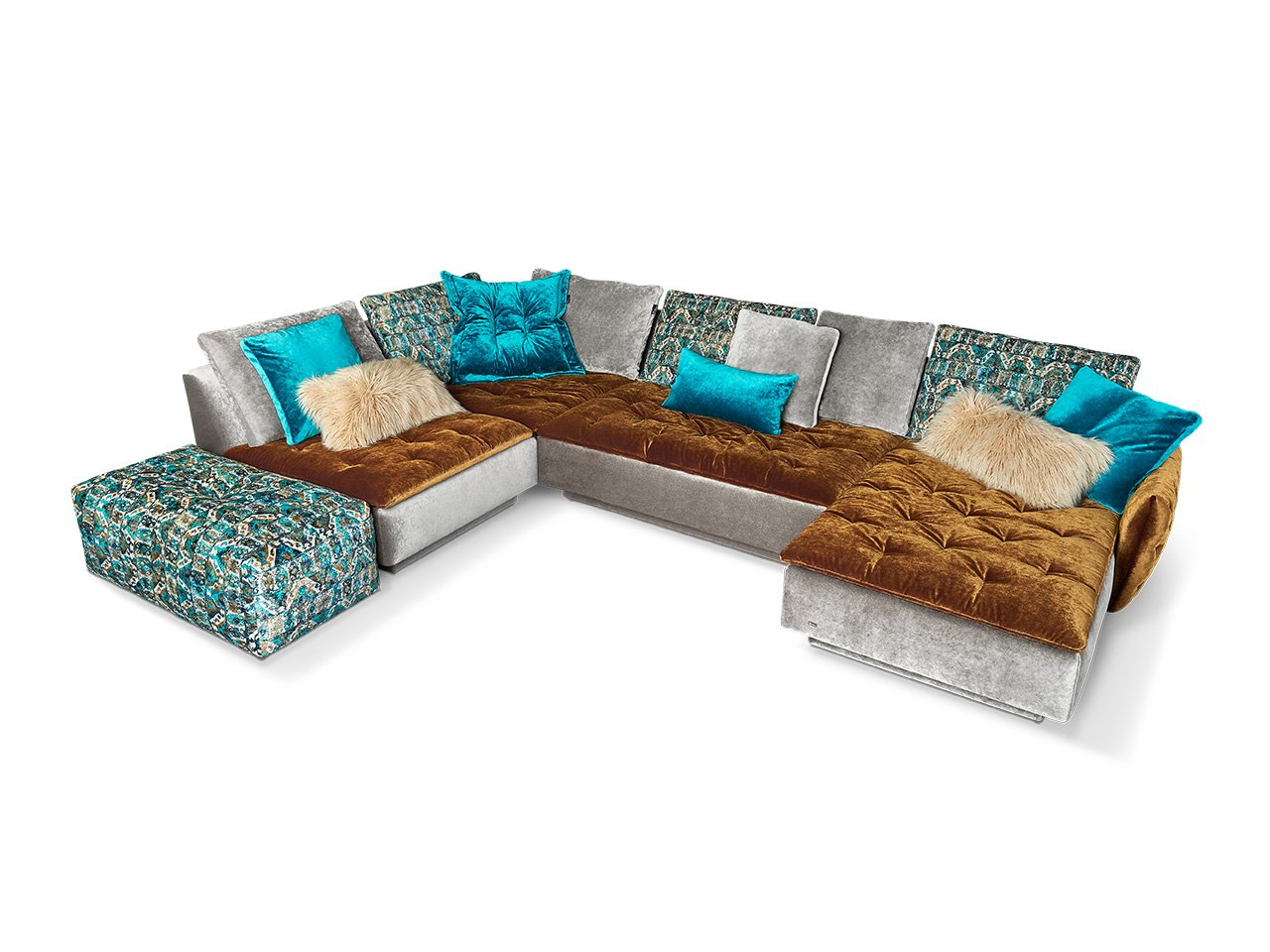 Filousof Bretz Sofa Anbaulandschaft Stardust Blue Inka