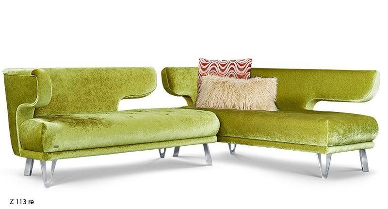 Bretz-Designsofa-Croissant-Velour-Kiwi-Eelementgruppe
